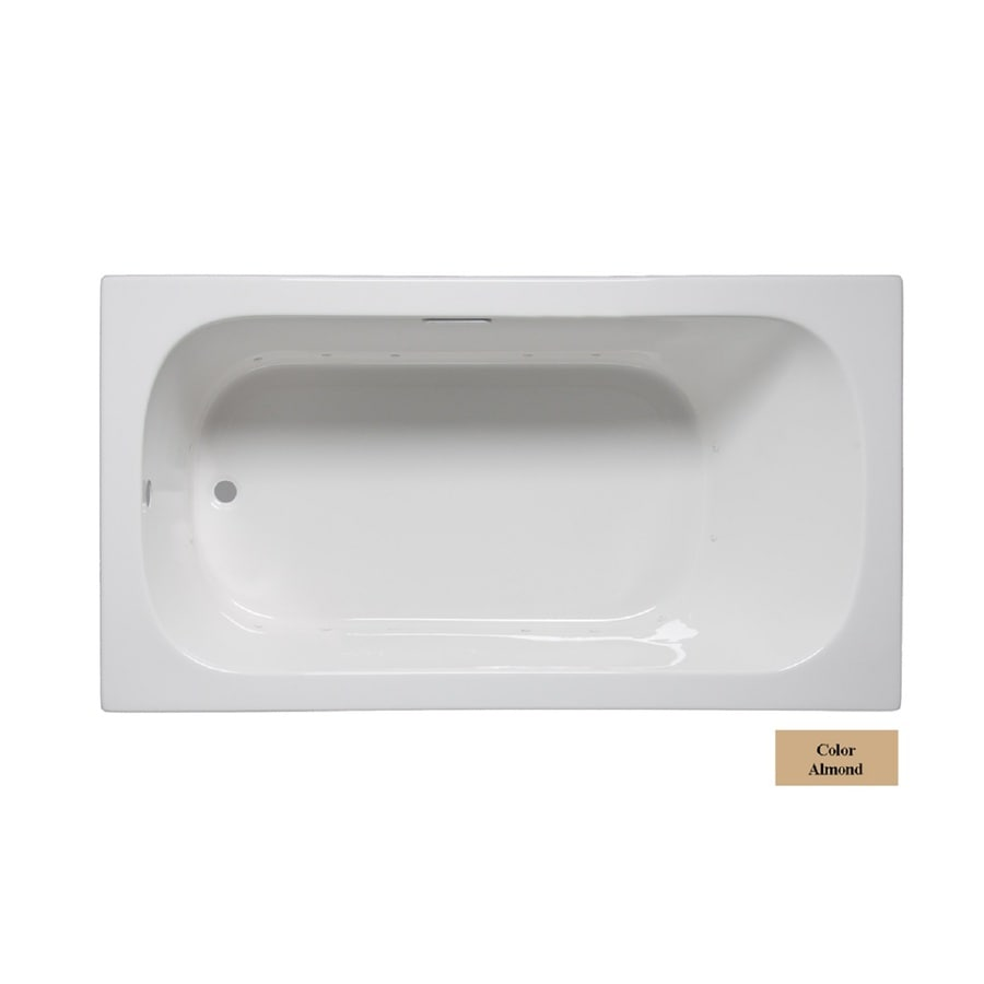 Laurel Mountain Butler II 66-in Almond Acrylic Drop-In Air Bath with Reversible Drain