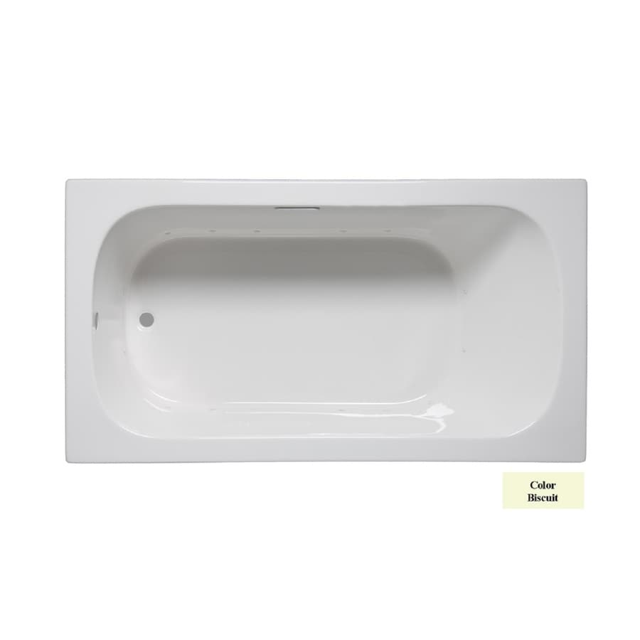 Laurel Mountain Butler II 66-in Biscuit Acrylic Drop-In Air Bath with Reversible Drain