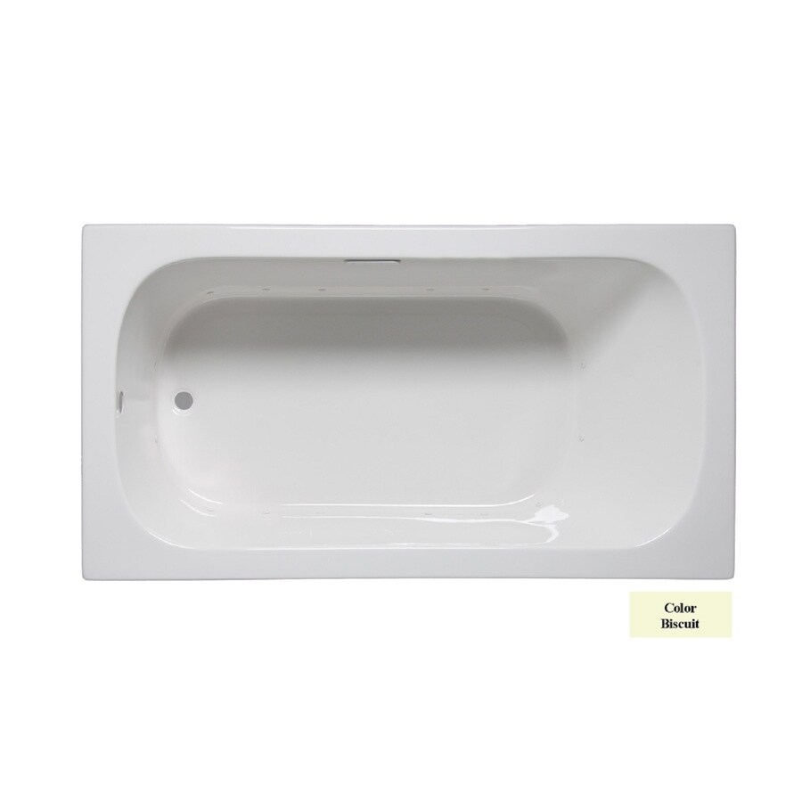 Laurel Mountain Butler III 66-in Biscuit Acrylic Drop-In Air Bath with Reversible Drain