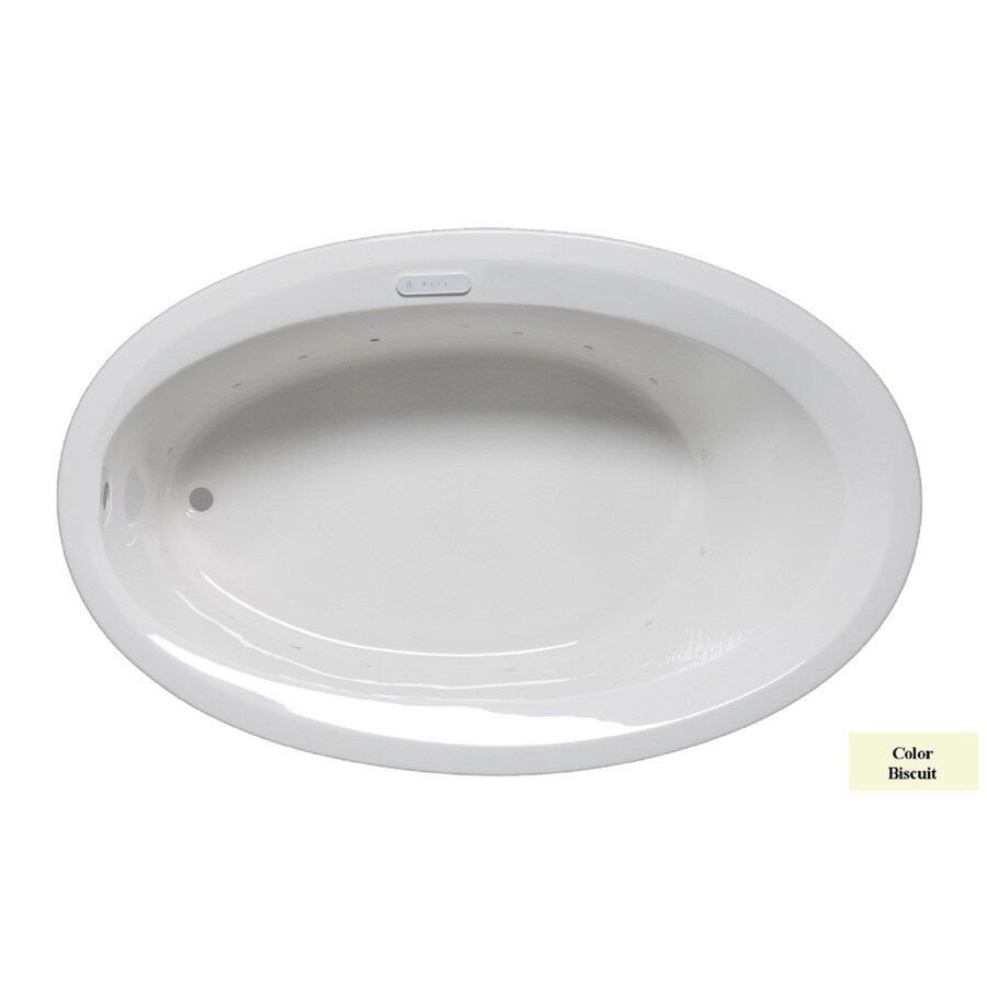 Laurel Mountain Corry III 66-in Biscuit Acrylic Drop-In Air Bath with Reversible Drain