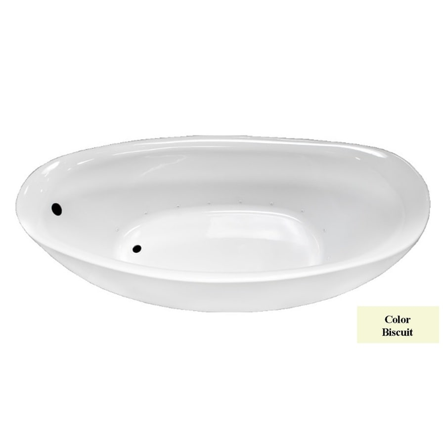 Laurel Mountain DuBois 72-in Biscuit Acrylic Freestanding Air Bath with Reversible Drain