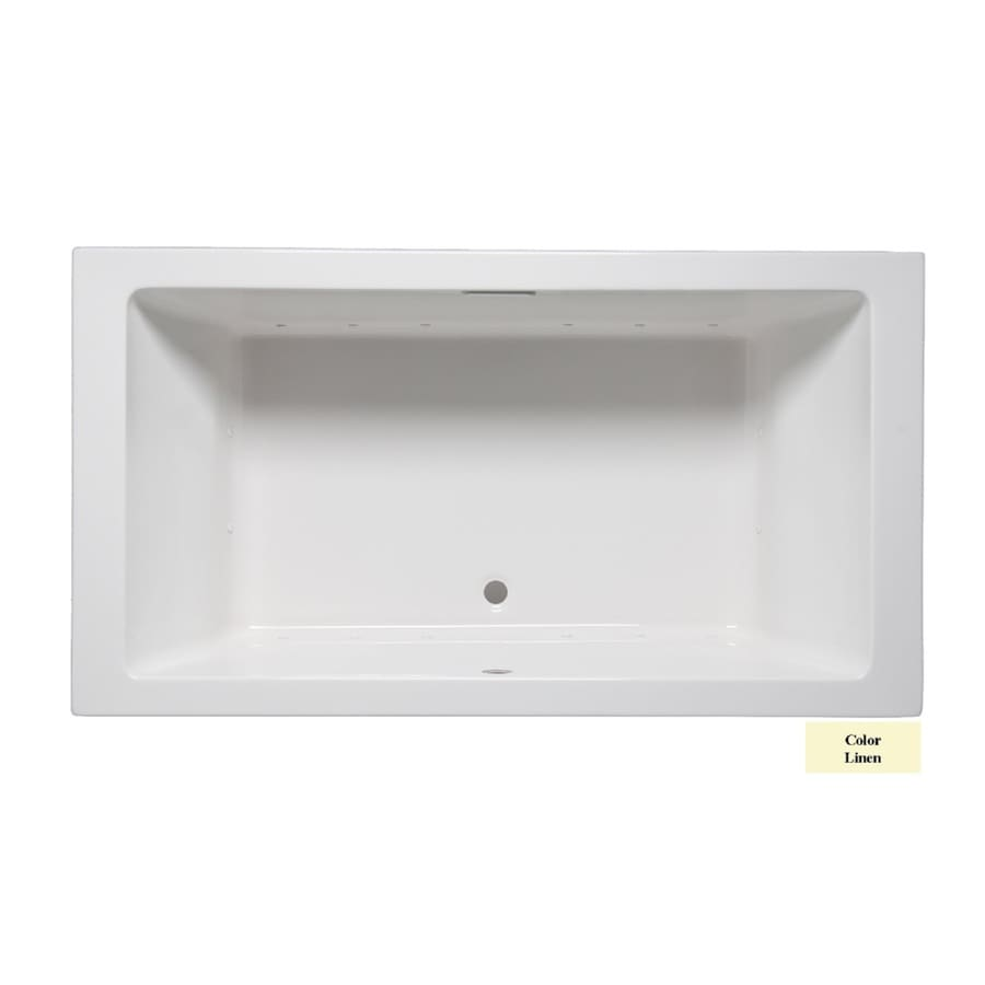 Laurel Mountain Farrell III 66-in Linen Acrylic Drop-In Air Bath with Front Center Drain