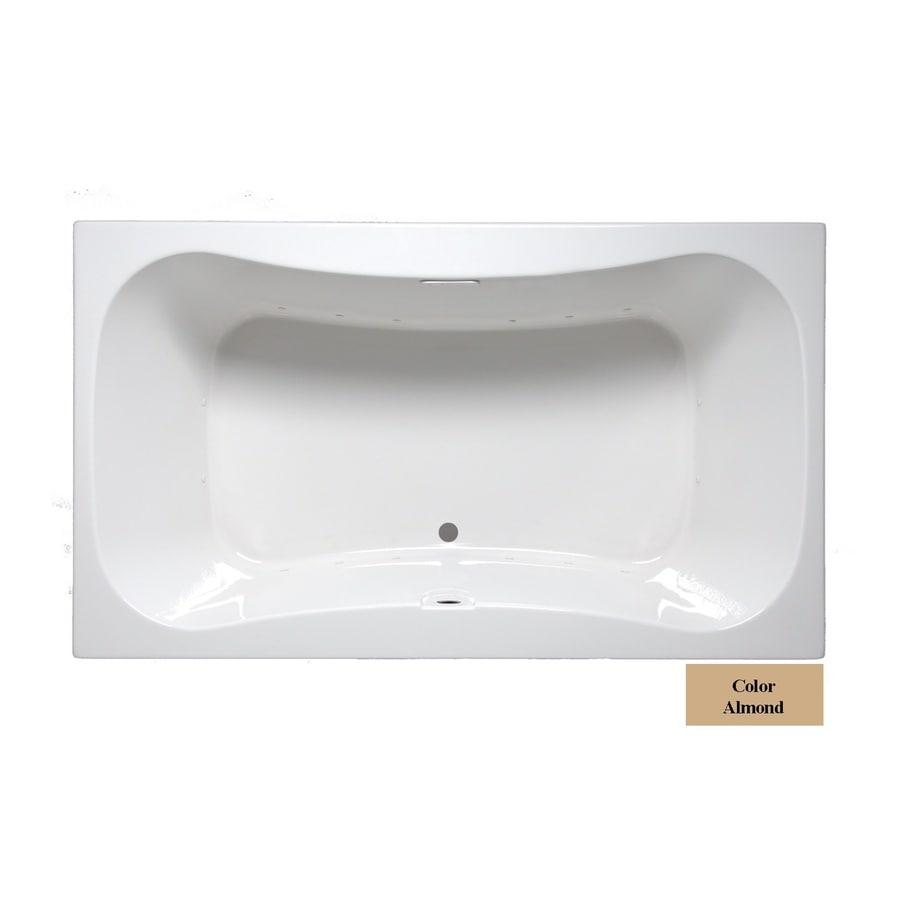 Laurel Mountain Masten Ii 72-in L x 42-in W x 24-in H Almond Acrylic 2-Person-Person Hourglass In Rectangle Drop-in Air Bath