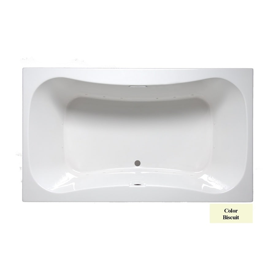 Laurel Mountain Masten II 72-in Biscuit Acrylic Drop-In Air Bath with Front Center Drain