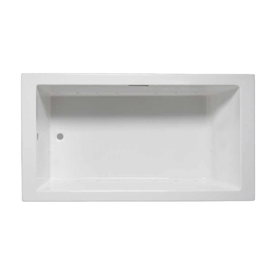 Laurel Mountain Parker I 60-in White Acrylic Drop-In Air Bath with Reversible Drain