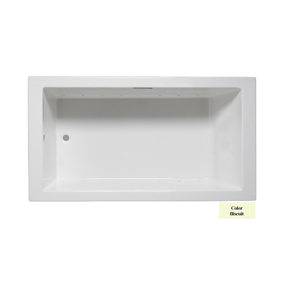 Laurel Mountain Parker I 60-in Biscuit Acrylic Drop-In Air Bath with Reversible Drain