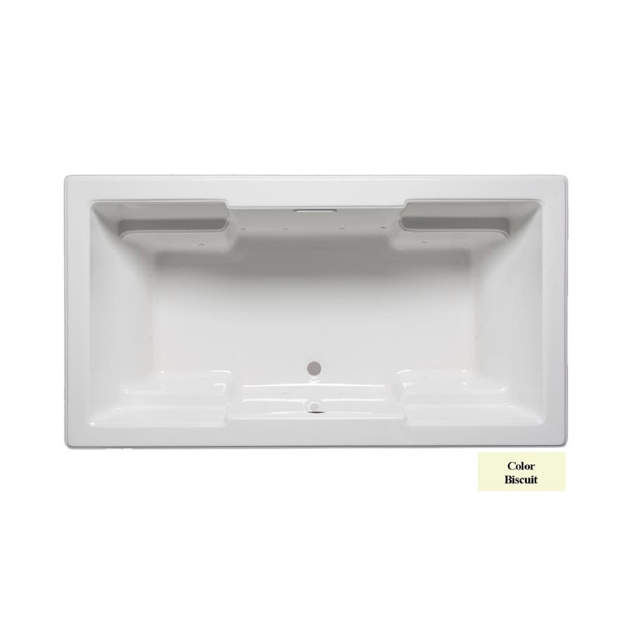 Laurel Mountain Reading V 72-in Biscuit Acrylic Drop-In Air Bath with Front Center Drain