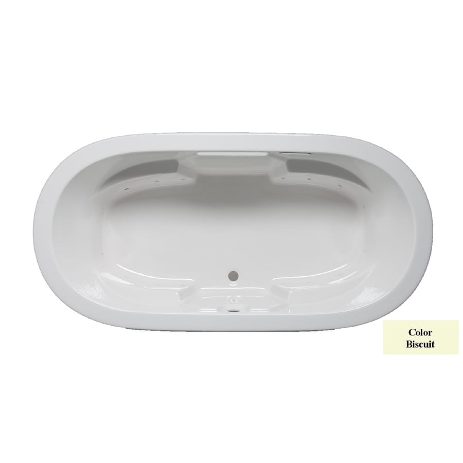 Laurel Mountain Warren II 72-in Biscuit Acrylic Drop-In Air Bath with Front Center Drain