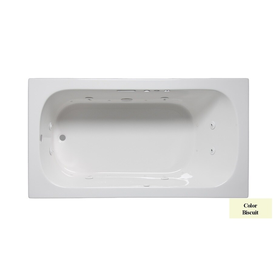 Laurel Mountain Butler I 60-in Biscuit Acrylic Drop-In Whirlpool Tub and Air Bath with Reversible Drain