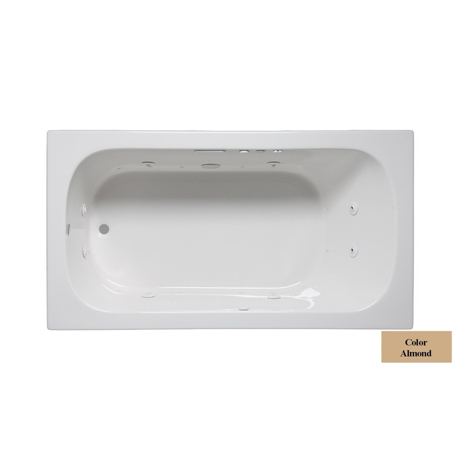 Laurel Mountain Butler II 66-in Almond Acrylic Drop-In Whirlpool Tub and Air Bath with Reversible Drain
