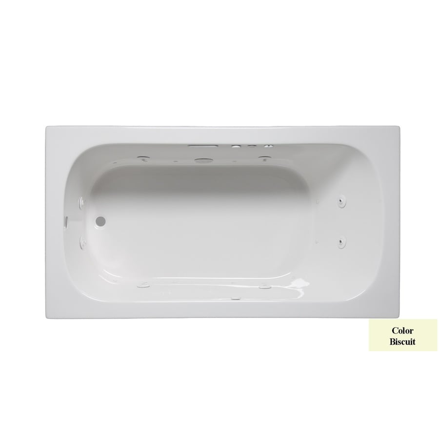 Laurel Mountain Butler II 66-in Biscuit Acrylic Drop-In Whirlpool Tub and Air Bath with Reversible Drain