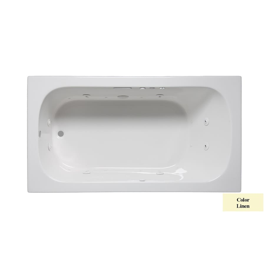 Laurel Mountain Butler II 66-in Linen Acrylic Drop-In Whirlpool Tub and Air Bath with Reversible Drain