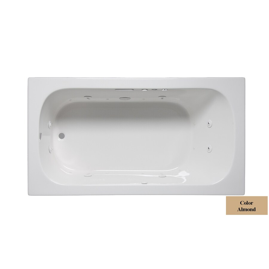 Laurel Mountain Butler III 66-in Almond Acrylic Drop-In Whirlpool Tub and Air Bath with Reversible Drain