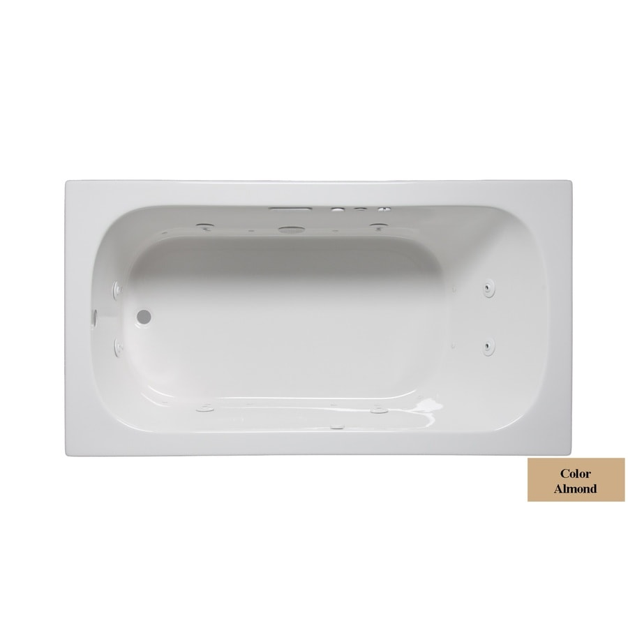 Laurel Mountain Butler IV 72-in Almond Acrylic Drop-In Whirlpool Tub and Air Bath with Reversible Drain