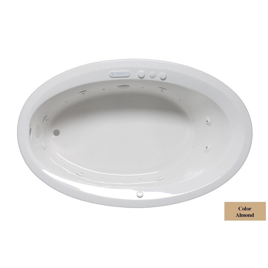 Laurel Mountain Corry III 66-in L x 42-in W x 22-in H Almond Acrylic Oval Whirlpool Tub and Air Bath
