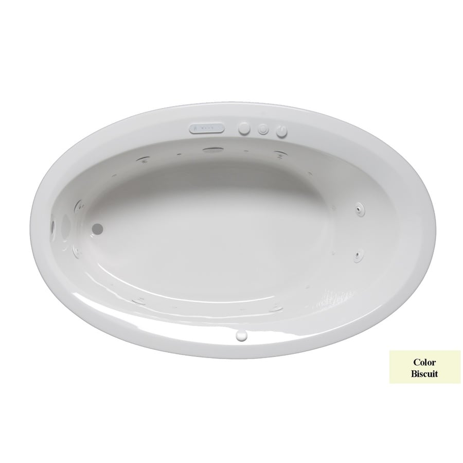 Laurel Mountain Corry III 66-in Biscuit Acrylic Drop-In Whirlpool Tub And Air Bath with Reversible Drain