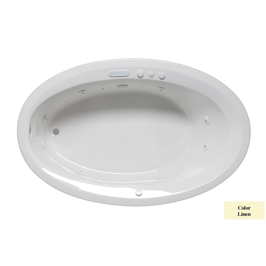 Laurel Mountain Corry III 66-in Linen Acrylic Drop-In Whirlpool Tub and Air Bath with Reversible Drain