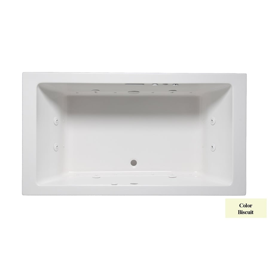 Laurel Mountain Farrell I 66-in Biscuit Acrylic Drop-In Whirlpool Tub And Air Bath with Front Center Drain