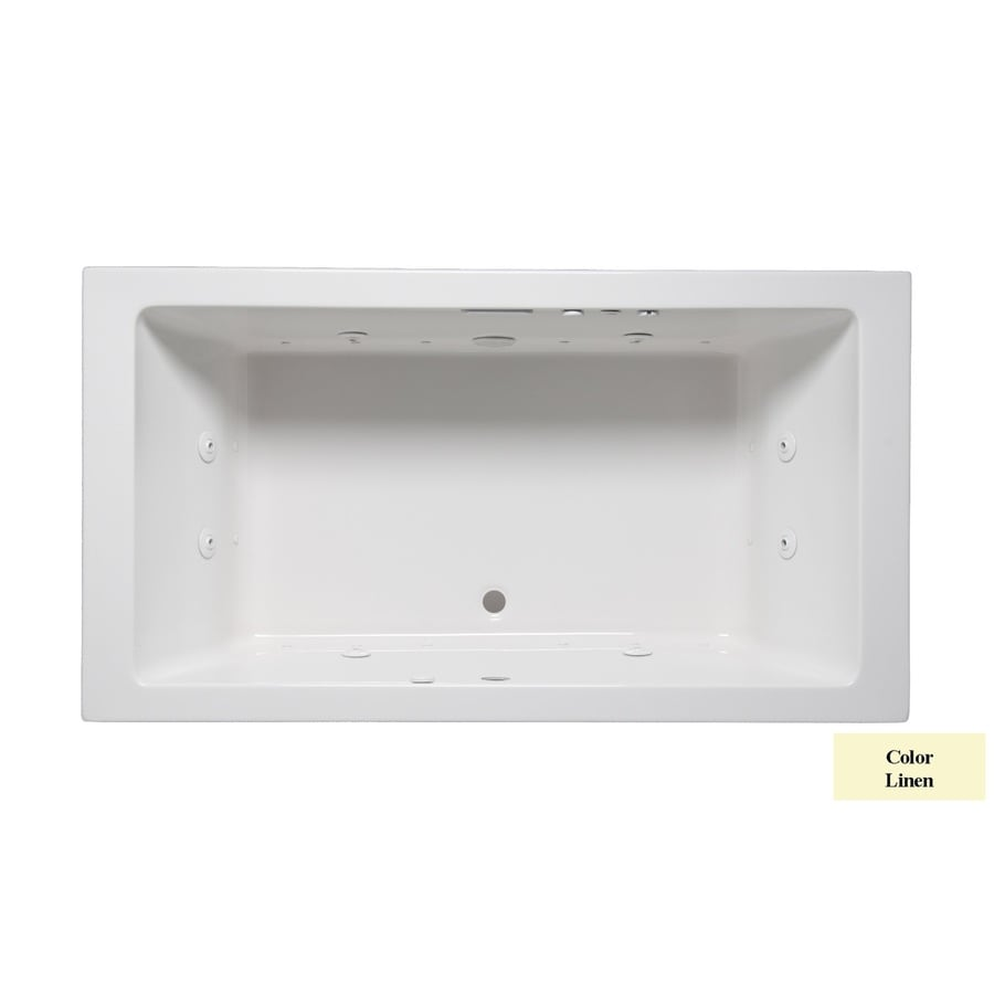 Laurel Mountain Farrell I 66-in Linen Acrylic Drop-In Whirlpool Tub and Air Bath with Front Center Drain