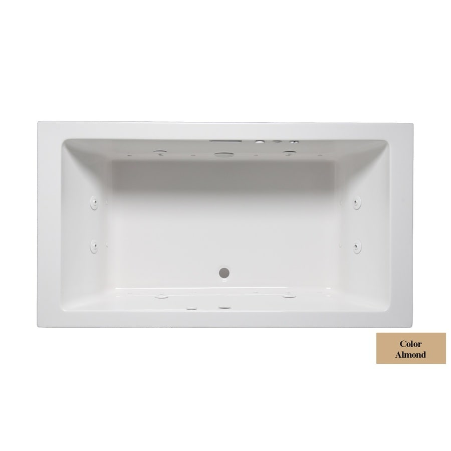 Laurel Mountain Farrell II 72-in L x 36-in W x 22-in H 2-Person Almond Acrylic Rectangular Whirlpool Tub and Air Bath