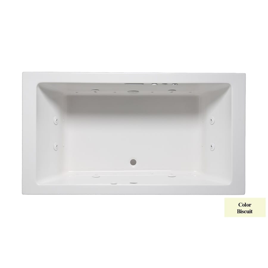 Laurel Mountain Farrell II 72-in Biscuit Acrylic Drop-In Whirlpool Tub and Air Bath with Front Center Drain