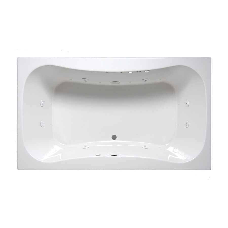 Laurel Mountain Masten II 72-in White Acrylic Drop-In Whirlpool Tub and Air Bath with Front Center Drain
