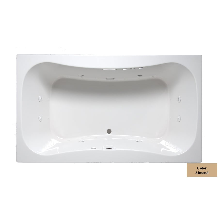 Laurel Mountain Masten II 72-in L x 42-in W x 24-in H 2-Person Almond Acrylic Hourglass in Rectangle Whirlpool Tub and Air Bath