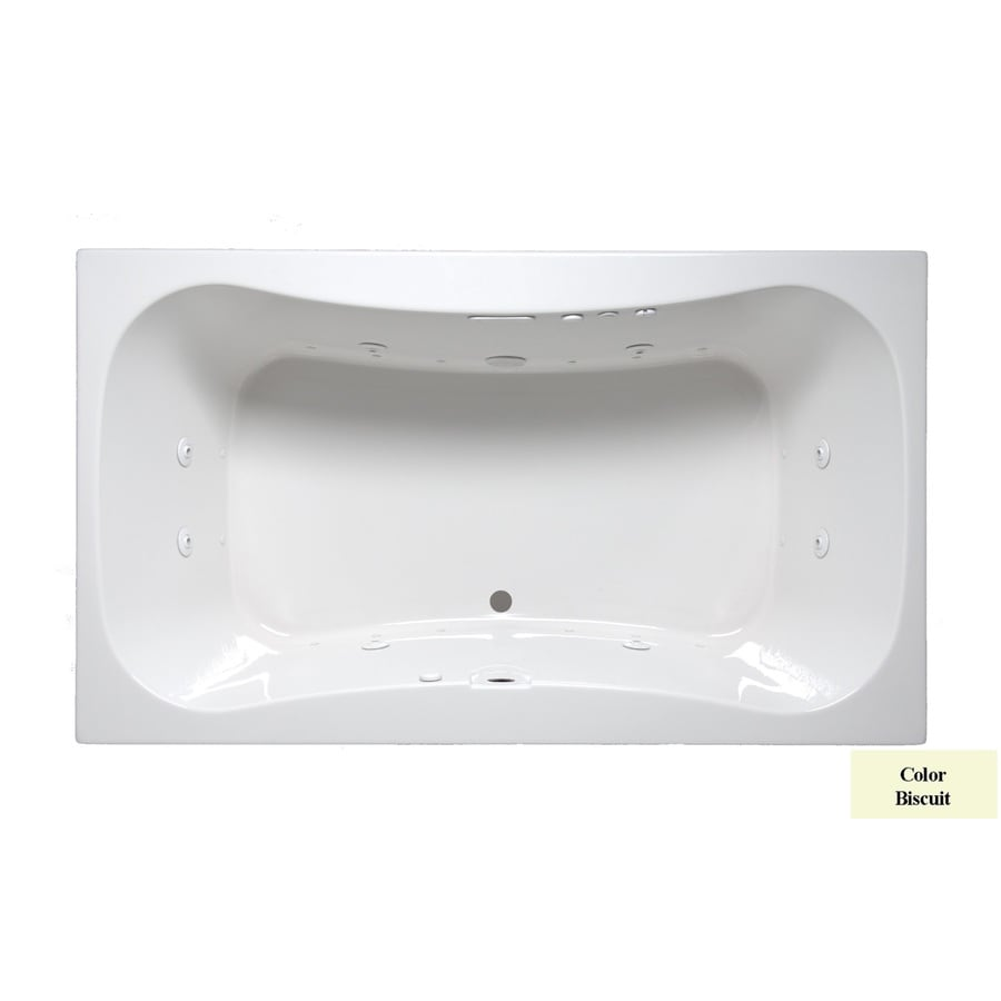 Laurel Mountain Masten II 72-in Biscuit Acrylic Drop-In Whirlpool Tub and Air Bath with Front Center Drain