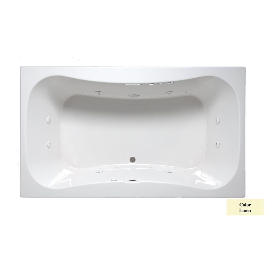 Laurel Mountain Masten II 72-in Linen Acrylic Drop-In Whirlpool Tub and Air Bath with Front Center Drain