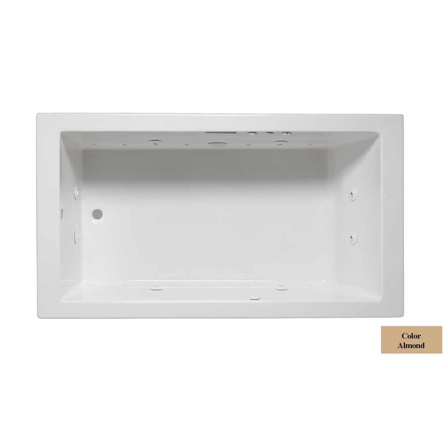 Laurel Mountain Parker I 60-in L x 30-in W x 22-in H 1-Person Almond Acrylic Rectangular Whirlpool Tub and Air Bath