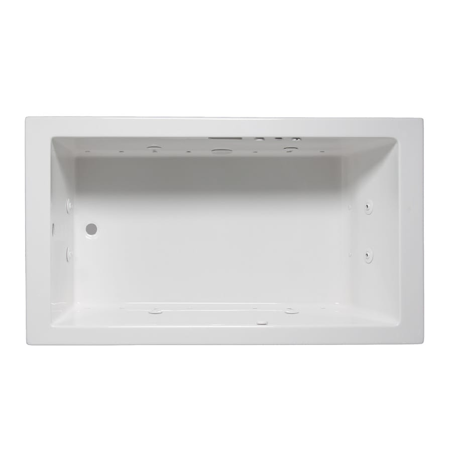 Laurel Mountain Parker II 60-in White Acrylic Drop-In Whirlpool Tub and Air Bath with Reversible Drain