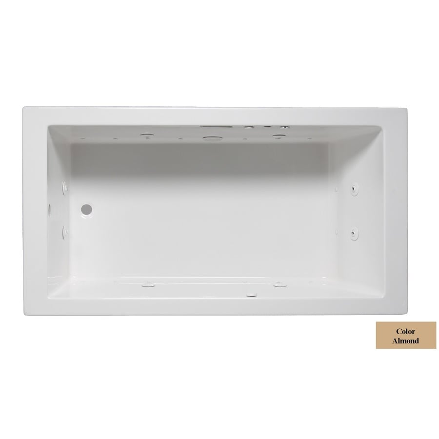 Laurel Mountain Parker II 60-in L x 32-in W x 22-in H Almond Acrylic Rectangular Whirlpool Tub and Air Bath