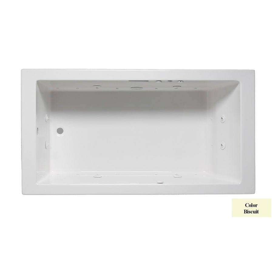 Laurel Mountain Parker II 60-in Biscuit Acrylic Drop-In Whirlpool Tub and Air Bath with Reversible Drain