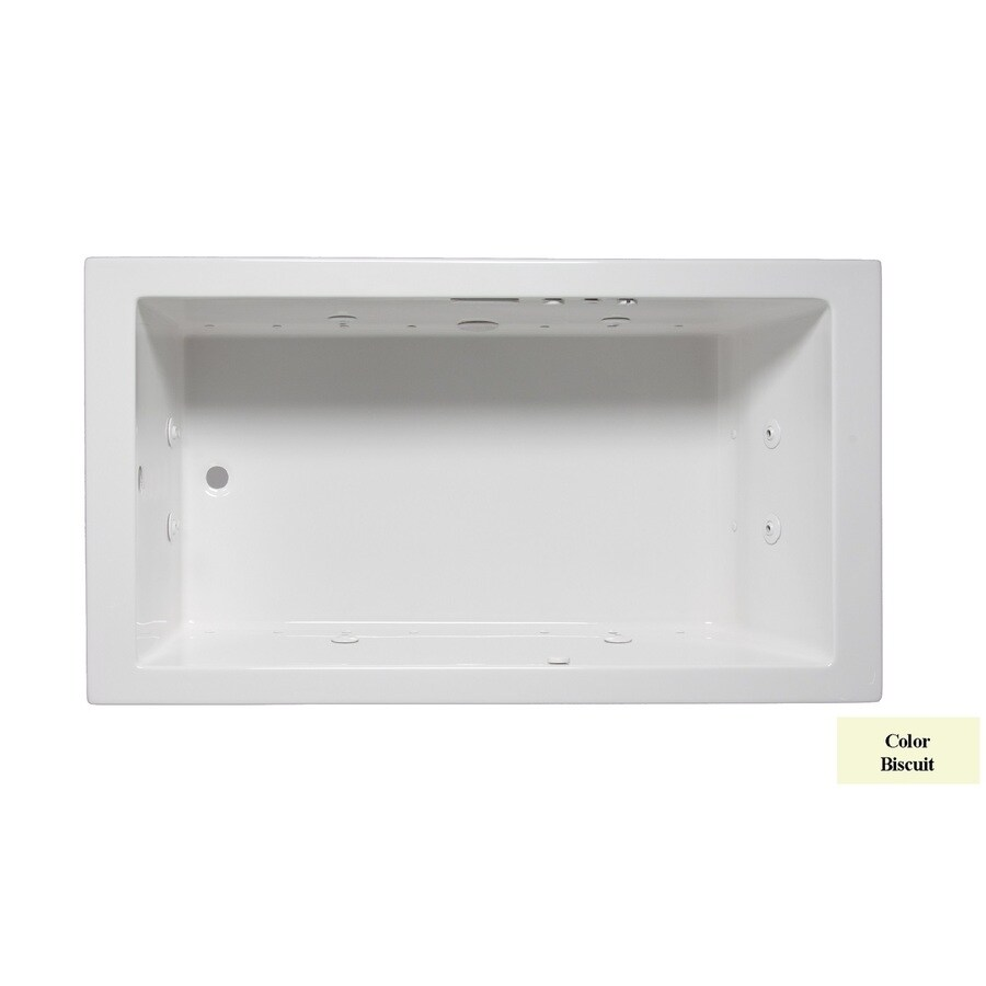 Laurel Mountain Parker III 66-in L x 32-in W x 22-in H Biscuit Acrylic Rectangular Whirlpool Tub and Air Bath