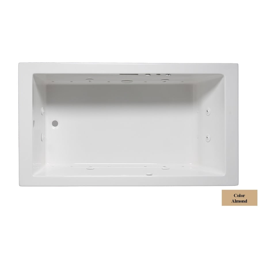 Laurel Mountain Parker IV 72-in L x 32-in W x 22-in H Almond Acrylic Rectangular Whirlpool Tub and Air Bath