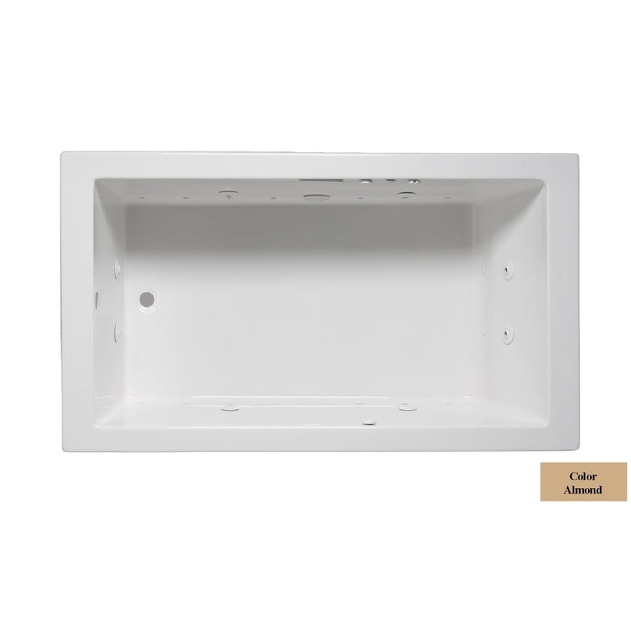 Laurel Mountain Parker Vi 66-in L x 36-in W x 22-in H 1-Person Almond Acrylic Rectangular Whirlpool Tub and Air Bath