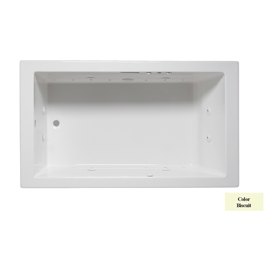 Laurel Mountain Parker Vi 66-in L x 36-in W x 22-in H 1-Person Biscuit Acrylic Rectangular Whirlpool Tub and Air Bath
