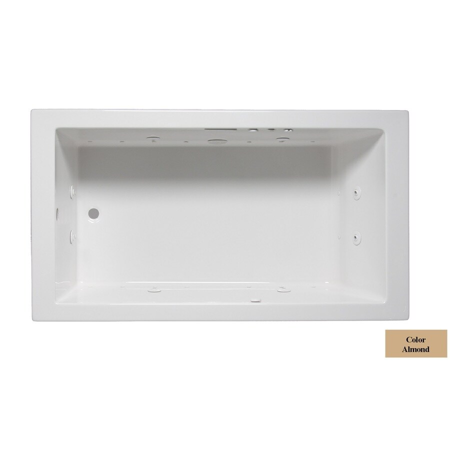 Laurel Mountain Parker Vii 72-in L x 36-in W x 22-in H 1-Person Almond Acrylic Rectangular Whirlpool Tub and Air Bath