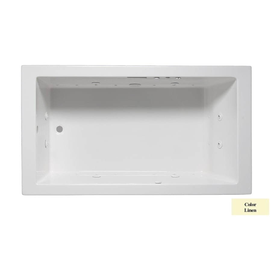 Laurel Mountain Parker VII 72-in Linen Acrylic Drop-In Whirlpool Tub and Air Bath with Reversible Drain