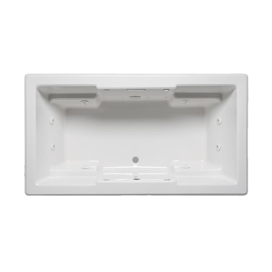 Laurel Mountain Reading 72-in White Acrylic Drop-In Whirlpool Tub and Air Bath with Front Center Drain