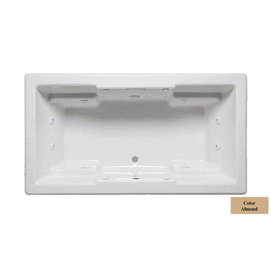 Laurel Mountain Reading 72-in Almond Acrylic Drop-In Whirlpool Tub and Air Bath with Front Center Drain