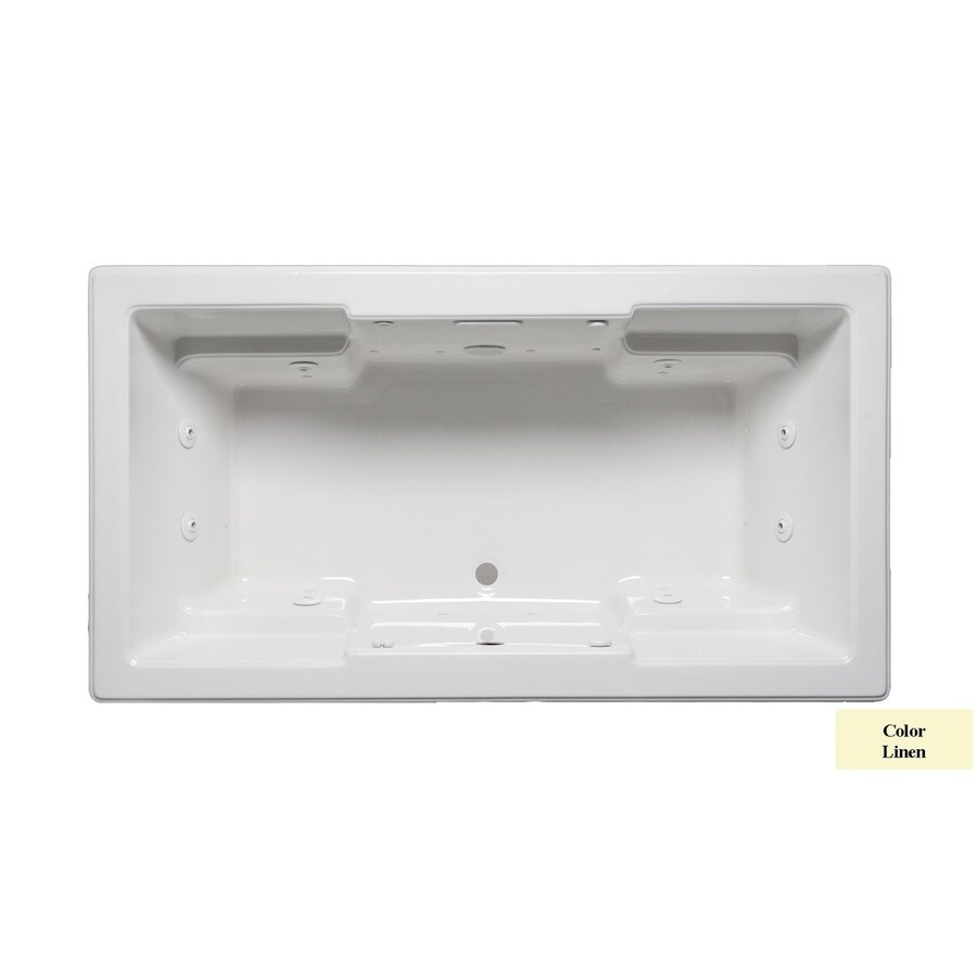 Laurel Mountain Reading 72-in Linen Acrylic Drop-In Whirlpool Tub and Air Bath with Front Center Drain