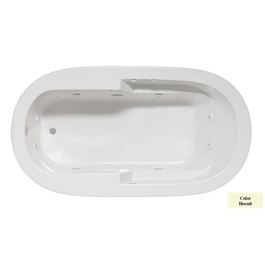 Laurel Mountain Venango 72-in L x 42-in W x 22-in H 1-Person Biscuit Acrylic Oval Whirlpool Tub and Air Bath