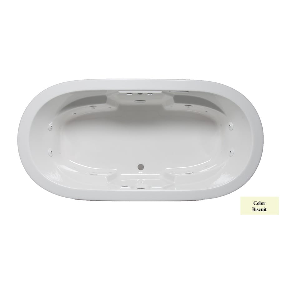 Laurel Mountain Warren 72-in L x 36-in W x 22-in H 2-Person Biscuit Acrylic Oval Whirlpool Tub and Air Bath