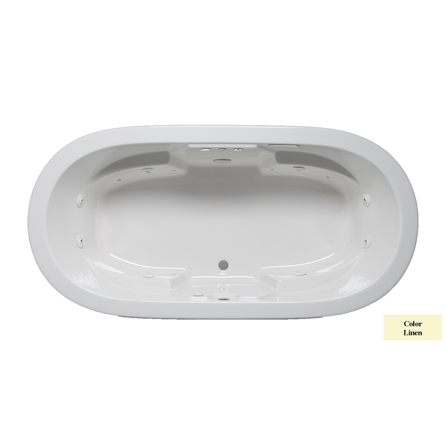 Laurel Mountain Warren 72-in Linen Acrylic Drop-In Whirlpool Tub and Air Bath with Front Center Drain