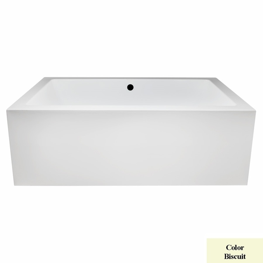 Laurel Mountain Berks I 66-in Biscuit Acrylic Freestanding Bathtub with Front Center Drain