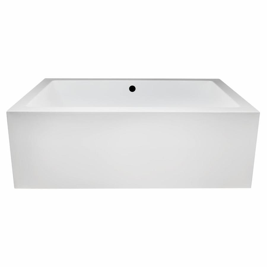 Laurel Mountain Berks II 72-in White Acrylic Freestanding Bathtub with Front Center Drain