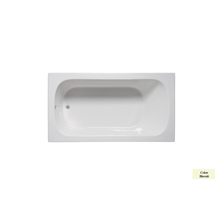 Laurel Mountain Butler I 60-in Biscuit Acrylic Drop-In Bathtub with Reversible Drain