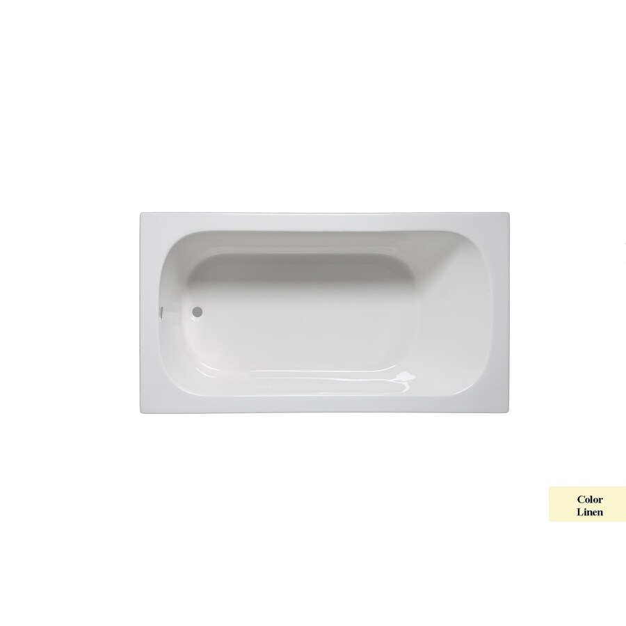 Laurel Mountain Butler I 60-in Linen Acrylic Drop-In Bathtub with Reversible Drain