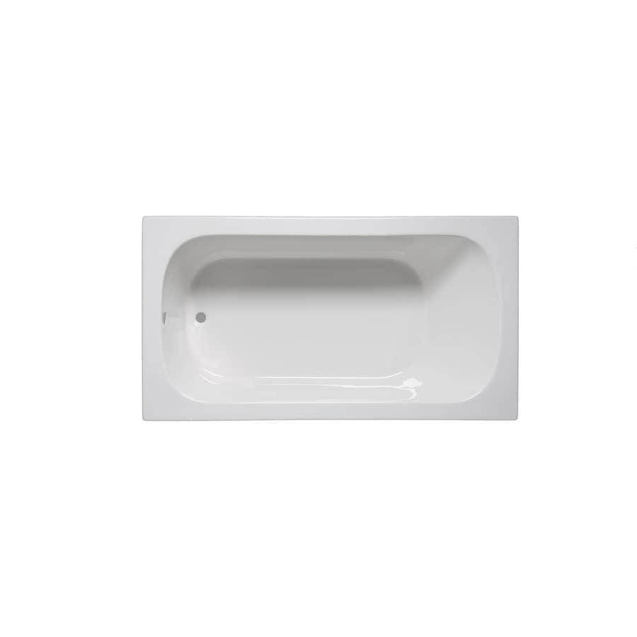 Laurel Mountain Butler III 66-in White Acrylic Drop-In Bathtub with Reversible Drain